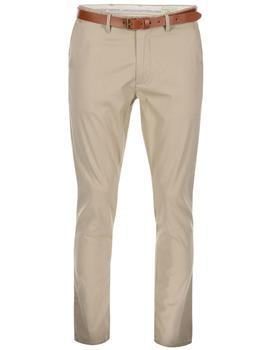 Beige slim trousers with belt Selected Yard