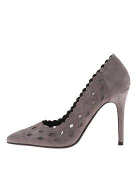 Gray perforated leather court shoes Dune London Bessie