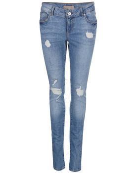Modré slim fit džínsy s roztrhaným efektom Vero Moda Five