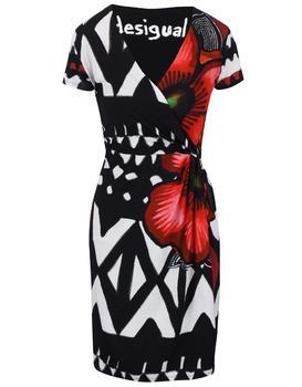 White-black patterned dress with a neckline the translated Desigual Katia