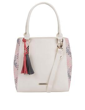 Creamy handbag with tassels LYDC