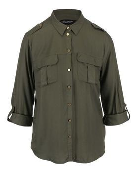 Khaki shirt with buttons in gold Dorothy Perkins