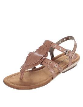 Brown leather sandals with metal studs Tamaris
