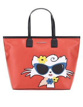 Red shopper with a motif of cats KARL LAGERFELD