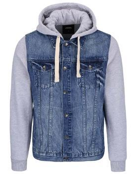 Gray-blue cotton denim jacket with sleeves and hood Burton Menswear London