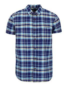 Blue plaid linen shirt Burton Menswear London