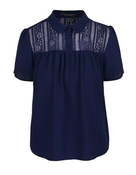 Dark blue blouse with lace collar and saddle Dorothy Perkins