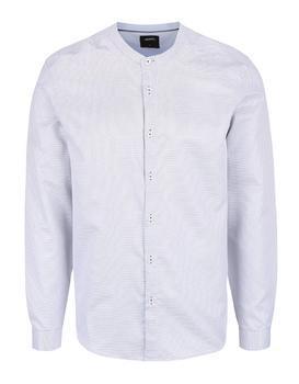 Biela vzorovaná košeľa bez goliera Burton Menswear London