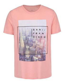 Pink T-shirt imprinted with Burton Menswear London