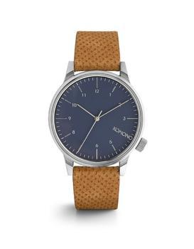 Blue unisex watch with brown leather strap Komono Winston