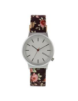 Burgundy ladies watch with a pattern Komono Wizard Print Roseberry