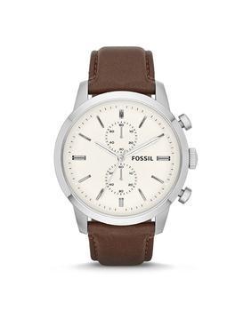 Hnedé pánske hodinky s koženým remienkom Fossil
