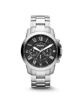 Men's watch with Roman numerals in silver Fossil