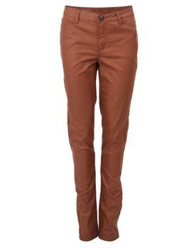 Brown pants with leatherette effect Vero Moda Wonder