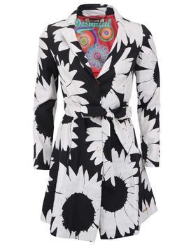 Black-and-white trench coat with flowers Desigual Native Love