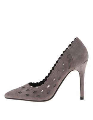 Gray perforated leather court shoes Dune London Bessie - 1