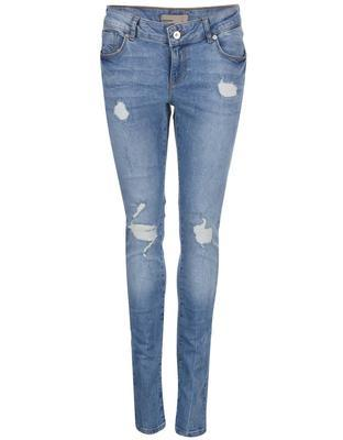 Blue slim fit jeans with torn effect Vero Moda Five - 1