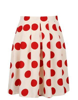 Creamy pleated skirt with red dots Smashed Lemon - 1