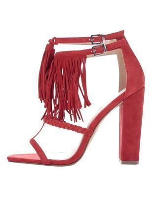 Červené semišové sandály na podpatku Miss Selfridge - 1