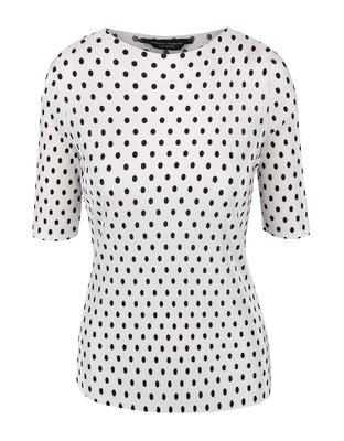 Bílé tričko s černými puntíky Dorothy Perkins, M - 1