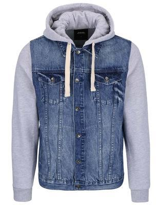 Gray-blue cotton denim jacket with sleeves and hood Burton Menswear London - 1