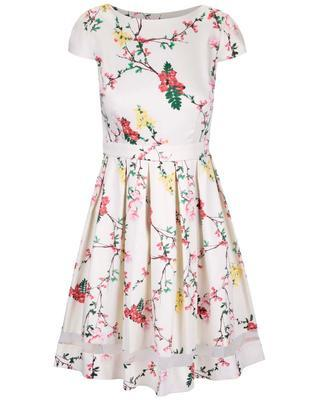 Cream floral dress with sheer stripe Dorothy Perkins - 1