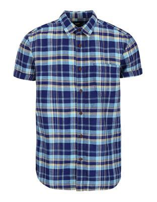 Blue plaid linen shirt Burton Menswear London - 1