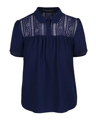 Dark blue blouse with lace collar and saddle Dorothy Perkins - 1
