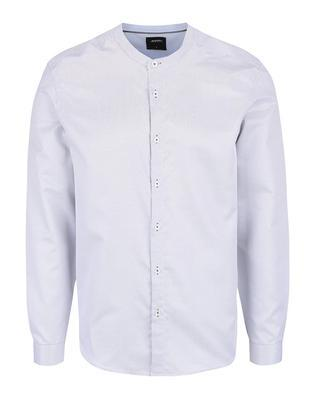 White patterned shirt collarless Burton Menswear London - 1