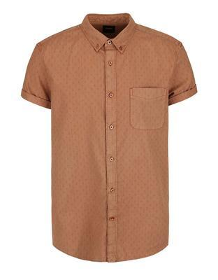 Brown shirt with a fine pattern with short sleeves Burton Menswear London - 1