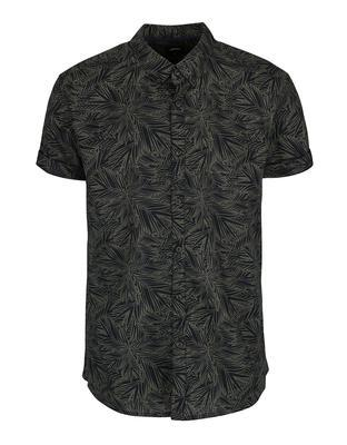 Khaki shirt with a pattern and short sleeves Burton Menswear London - 1