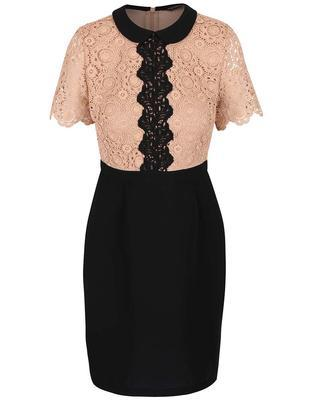 Brownish-black dress with a lace top on Dorothy Perkins - 1