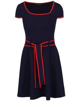 Tmavo modré šaty s červeným lemovaním Dorothy Perkins - 1