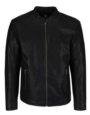 Čierna koženková bunda Jack & Jones Rush - 1