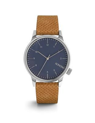 Blue unisex watch with brown leather strap Komono Winston - 1