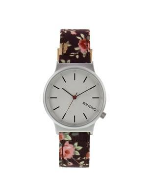 Burgundy ladies watch with a pattern Komono Wizard Print Roseberry - 1