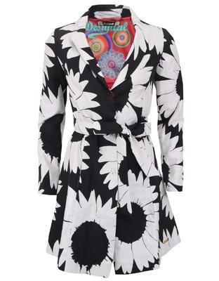 Black-and-white trench coat with flowers Desigual Native Love - 1