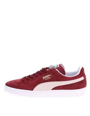 Creamy burgundy leather men sneakers Puma Suede Classic + - 1
