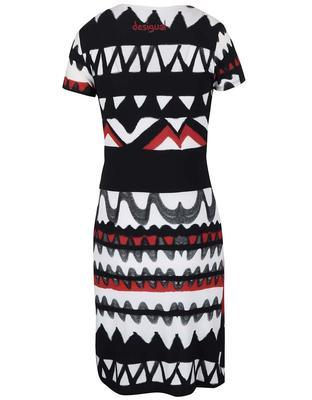 White-black patterned dress with a neckline the translated Desigual Katia - 2