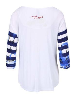 Biele pruhované tričko s 3/4 rukávmi Desigual Fonius - 2