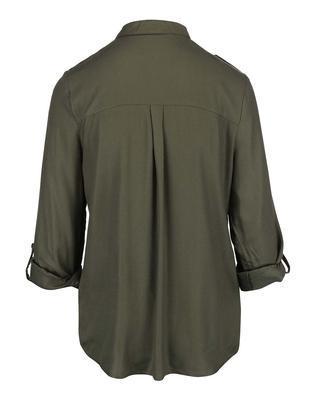 Khaki košeľa s gombíkmi v zlatej farbe Dorothy Perkins - 2