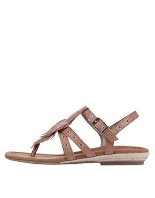 Brown leather sandals with metal studs Tamaris - 2