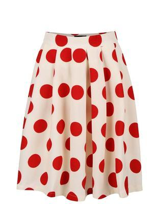 Creamy pleated skirt with red dots Smashed Lemon - 2