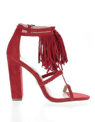 Červené semišové sandály na podpatku Miss Selfridge - 2