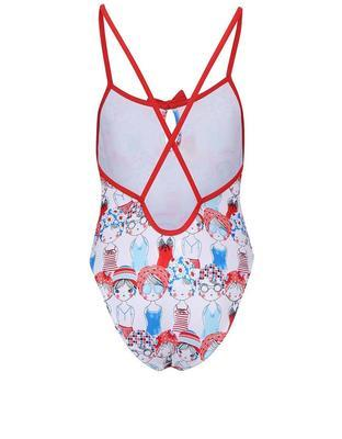 Girly white swimsuit with red-and-blue print Boboli - 2