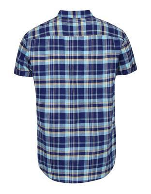Blue plaid linen shirt Burton Menswear London - 2