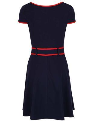Tmavo modré šaty s červeným lemovaním Dorothy Perkins - 2