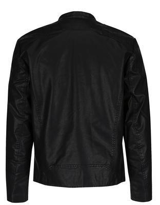Čierna koženková bunda Jack & Jones Rush - 2