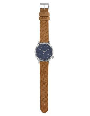 Blue unisex watch with brown leather strap Komono Winston - 2