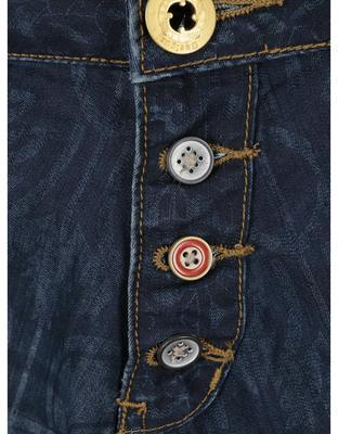 Modré vzorované džíny se sníženým sedem Desigual Turko Galactic - 3